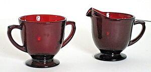 "Anchor Hocking Royal Ruby Red Open Sugar and Creamer 3-1/8"" Tall 2pcs Vintage"