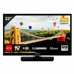 "Hitachi 22"" 12V Smart LED TV Full HD HDMI WIFI USB PVR Caravan Motorhome Boat"