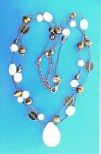 Lia Sophia Necklace Rose Quartz Pearl Tiger Eye