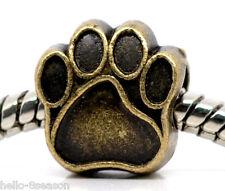 20PCs Bronze Tone Dog's Paw Charm Beads Fit Charm Bracelet