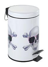 Kosmetik Treteimer Skull Fassungsvermögen 3 L, Metall,17 x 25 x 17 cm,Mehrfarbig