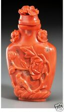 S027 Antique Chinese red coral with Bird & Flower Motifs snuff bottle, 9th Centu