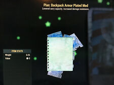 Fallout 76 Fo76 Ps4 2 Backpack Mod Plans (High Capacity, Armor Plated, or Other)