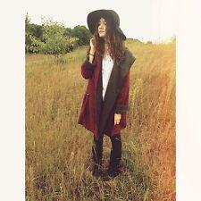 NWT Free PeopleSatellite Image Swing Coat Cape Hooded Crimson Renaissance Gray M