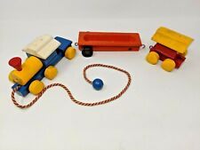 Vintage Playskool Wood Toy Pull Train 3 Pieces 50's or 60's Engine Children