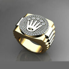 Fine Jewelry 18 Kt Real Solid Yellow & White Gold CZ Men'S Ring Size 9,10,11,12
