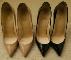 Christian Louboutin 2 Pairs Of Pigalle Patent 120mm Nude And Black Size 38.5