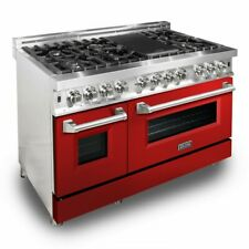 "Zline 48"" Dual Fuel Range Oven Gas Electric Red Gloss Door Ra-Rg-48"