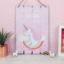 Happier Than A Unicorn On A Rainbow Magical Wooden Pink Plaque Girl's Bedroom