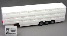HERPA 1:87 Viehtransporter-Auflieger, Fahrgestell rot 3-achs weiß 076333-002 NEU