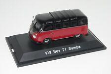 Schuco 1/43 VOLKSWAGEN VW SAMBA T1 splitscreen bus van 21W RED/BLACK 02712