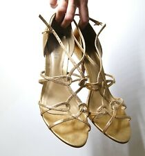 Gorgeous Faith Real Leather Gold High Stiletto Heels Sandals Ankle straps Size 7