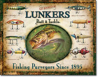 Lunkers Lures Sign Fishing Bait Tackle Fish Vintage Metal Advertising Tin New