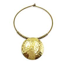 Brass Necklace Gold Tone Statement Necklace Bib Hammered Choker