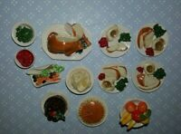 Dollhouse miniature Deborah McKnight IGMA vintage ceramic holiday dinner 12pcs