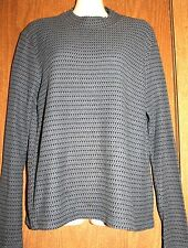 M.A.C.Marin Apparel Co Woman Cotton Black/Gray Blue Ribbed Pullover LS Sweater L