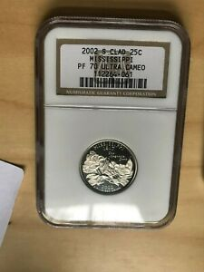 2002 S Clad 25 C Mississippi Quarter NGC Certified PF 70 Ultra Cameo A