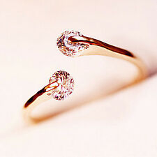 1x Sweet Women Rose Gold Plated Crystal Rhinestone Bridal Engagement Ring Size 7