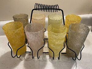 Vtg Spaghetti String Glasses with Carrier set of 8 glasses