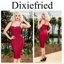 Pinup Girl Clothing Burgundy Dixiefried Lurex Glamour Dress - Size 2XL