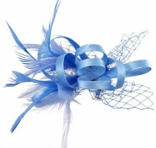 New Ladies Satin Loop Concord Fascinator With Feather Net And A Brooch Pin
