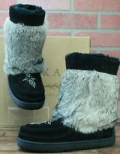 PIKA Women's Short Suede Black Fur Lined Beaded Boots Moccasins Size 5 M