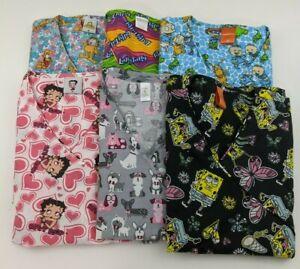 Scrub Top Sponge Bob Rugrats Dogs Garfield Dogs Betty Bop Select Size & Pattern