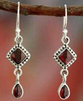 Women 925 Silver Red Ruby Stud Dangle Hoop Drop Earrings Ear Jewelry Hot