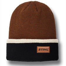 STIHL Brown and Black Waffle Knit Beanie Hat Cap