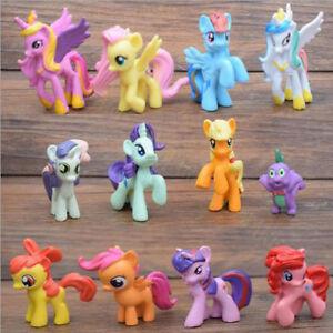 12 Pcs My Little Pony Princess Rainbow PVC Action Figure Cake Topper Toy Dolls
