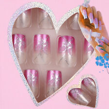 24pc Set Pre Design Acrylic Nail Tips False French Full Nails Art w/ Glue JQ055