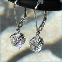 4Ct Round Cut VVS1/D Diamond Drop & Dangle Hoop Earrings 14K White Gold Finish