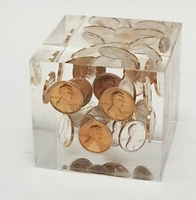 Vintage 70's Lucite Cube Block Encased Penny Paperweight