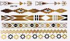 TATUAJE ORO PLATA NEGRO SOLO USO Pegamento Flash Temporal 7 piezas Pulsera WOW