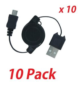 Lot of 10 Retractable Micro USB Charging Data Cable Tangle Free - Micro Androids