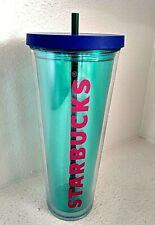 Starbucks 2014 Aqua Blue Cold Cup 24 oz Travel Tumbler Purple Lid Green Straw