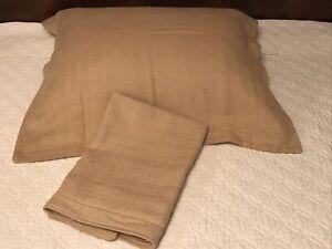 FAB! VTG Ralph Lauren Desert SPA Tweed Cream-Camel Pair Euro Pillow Shams MINT!