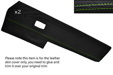 GREEN STITCH 2X FRONT DOOR CARD TRIM SKIN COVERS FITS VW TYPE 3 T3 EARLY