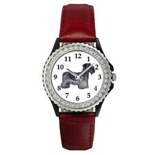 Cesky Terrier Dog Breed Women's Cubic Zirconia Leather Band Wrist Watch Sgp214
