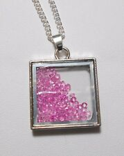 """Square 28mm pendant with loose pink crystals - 18"""" chain"""