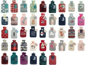 Large 2 Litre Hot Water Bottle With Printed Fleece And Knitted Covers