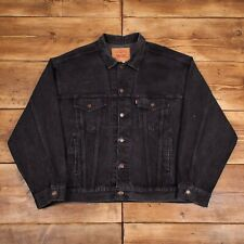 Mens Vintage Levis Red Tab Faded Black Relaxed Denim Trucker Jacket Large R23330