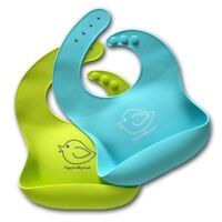 Waterproof Silicone Baby Bib Easily Wipes Clean- 2 Pack- Lime Green & Turquoise