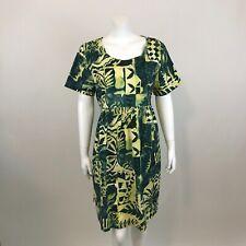 Hilo Hattie Hawaiian Dress Womens L Green Floral Short Sleeve Made in USA