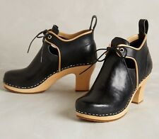 ANTHROPOLOGIE CENTURY CLOG BOOTIES SWEDISH HASBEENS SHOES BLACK 40 ANKLE BOOTS