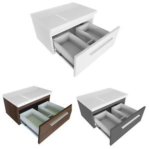 Waschtischunterschrank mit Platte Badmöbel Set für Aufsatzwaschbecken 50 60 80cm