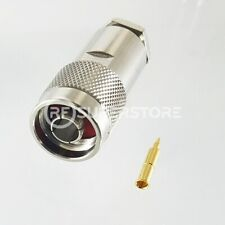 N Male Connector Clamp Attachment Coax RG8, RG9, RG213, Nickel Plating