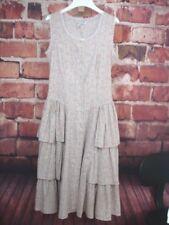 Country Prairie Dress Sleeveless Ruffles Sage Green Roses Junior Sz 9/10 VTG