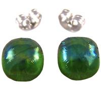 """Glass Earrings Emerald Green Iridescent Metallic Teal Green Post 1/4"""" 8mm STUDS"""