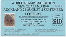 New Zealand 1990 EXHIBITION LOTTERY TICKET Kiwi SPECIMEN attached